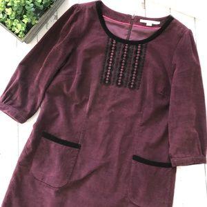 Boden Corduroy Burgundy Dress